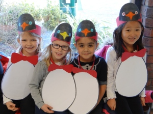 ACS Cobham students prepare for their Penguin performance.