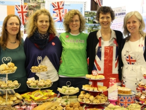 Hardworking parents and teachers manning the British stall at the International Food Fair